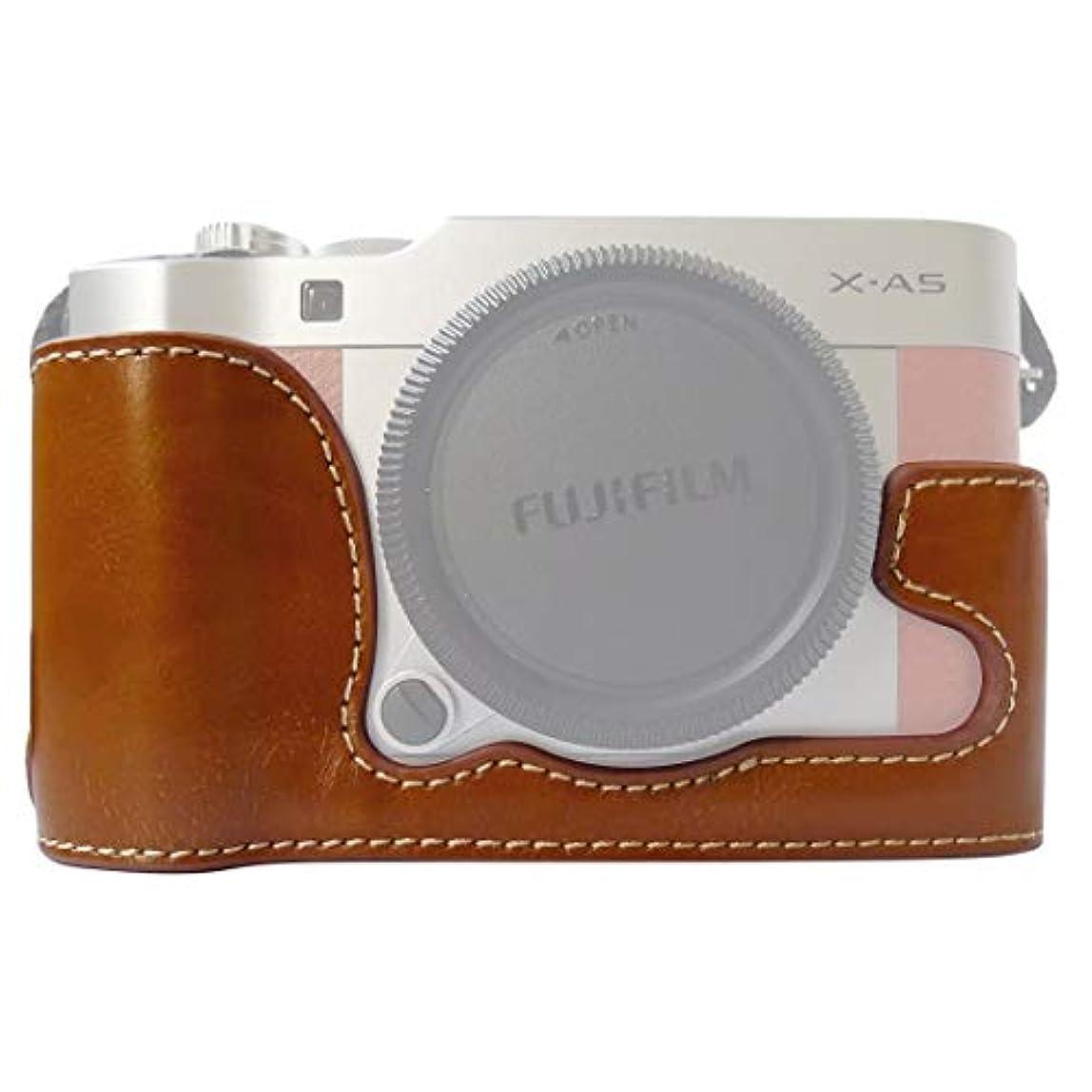 リダクター撃退する補償カメラバッグケース、 FUJIFILM X-A5 / X-A20用1/4インチスレッドPUレザーカメラケースベース (色 : Brown)
