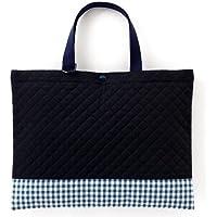 レッスンバッグ(キルティング) 絵本袋 手さげ おけいこバッグ ディープネイビー × チェック大・紺 N0250200
