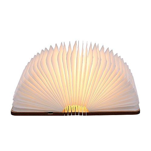 折りたたみ式 LEDライト ブックライト B5 雑誌サイズ 木製 テーブルライト USB充電 (暖かい光)