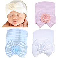 BQUBO 3 Pcs Newborn Hospital Hat Infant Baby Hat Cap with Big Bow Soft Cute Knot Nursery Beanie (3 Pack: pink, blue, white)