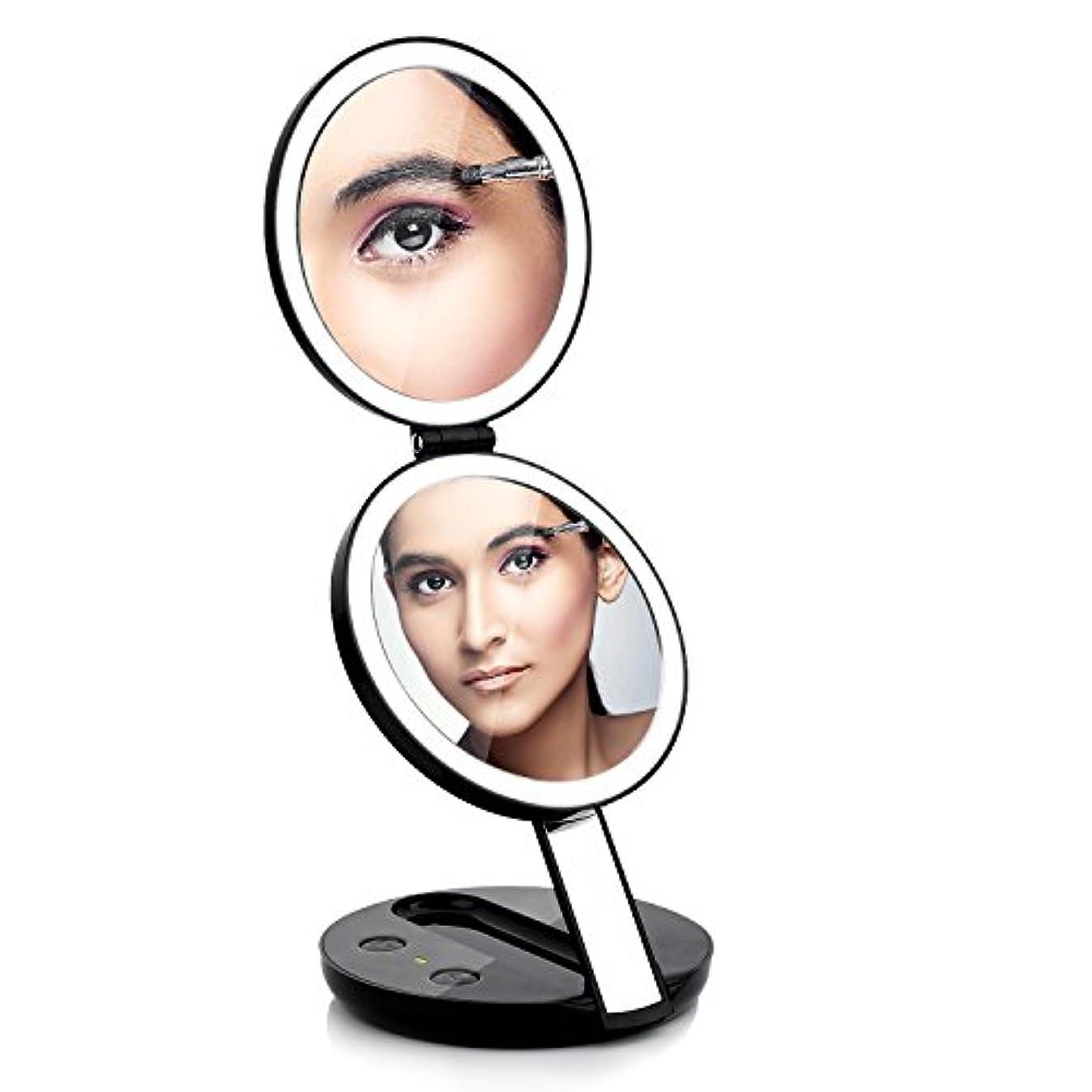 コンパクトミラー 両面 卓上ミラー 化粧鏡 手鏡 丸型 Ledライト 等倍と7倍拡大鏡 折りたたみ式 明るさ調整可能 角度調節USB給電 電池式 おしゃれ 手のひらサイズ 贈り物(ブラック)