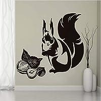 Ljjlm リス食べるナットウォールステッカーキッズルームキッチン装飾取り外し可能なPvc動物壁飾り防水アート壁画