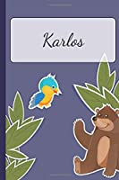 Karlos: Personalized Notebooks • Sketchbook for Kids with Name Tag • Drawing for Beginners with 110 Dot Grid Pages • 6x9 / A5 size Name Notebook • Perfect as a Personal Gift • Planner and Journal for kids