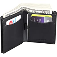 Trifold Bifold Genuine Leather RFID Wallets for Men - ID & Photo Window,10 Credit Card Slots,Bill & Coin Pockets
