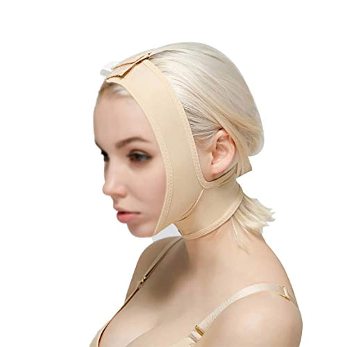 役に立つとげ自発GLJJQMY 顔と首のリフト減量術後弾性スリーブジョーセット顔のアーティファクトV顔の顔の顔の二重あごの薄い顔のかつら 顔用整形マスク (Size : S)