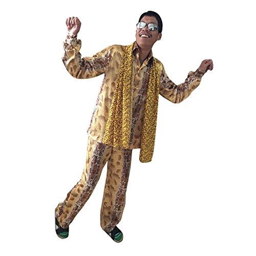高品質 ヒョウ柄 コスチューム 上下セット コスプレ 衣装 忘年会 パーティー コスプレ コスチューム ピコ太郎 風 PPAP 風 (M)