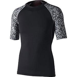 おたふく手袋 ボディータフネス 冷感・消臭 パワーストレッチ 半袖クルーネックシャツ JW-628 ブラック×迷彩 S