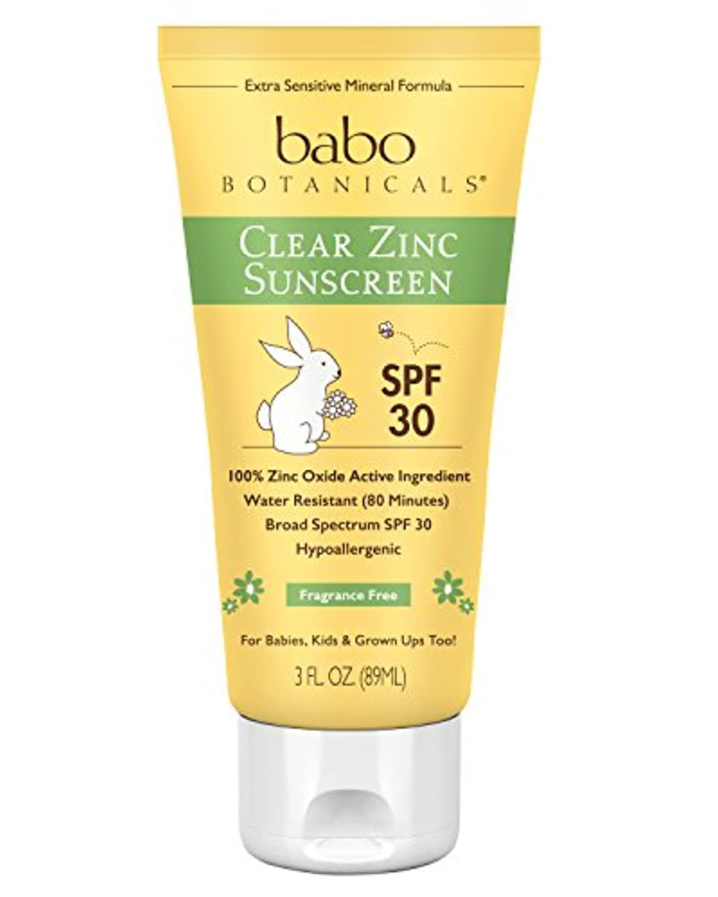反発法廷オーブン海外直送品Babo Botanicals Sunscreen Spf 30, Unscented 3 Oz