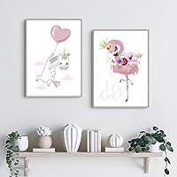 YFYW ポスター女の赤ちゃん保育園ピンク白鳥絵画漫画ポスター子供写真寝室の装飾-50×70センチ×2個フレームなし