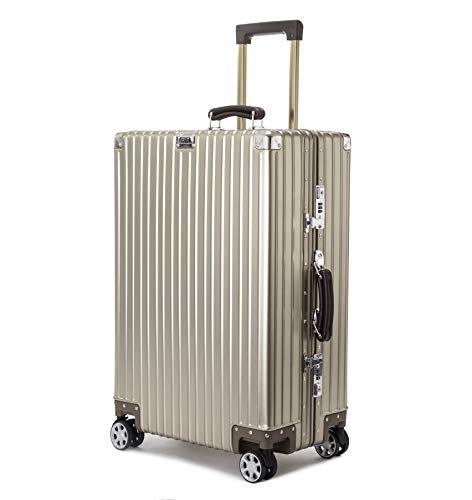 ビルガセ(Vilgazz) スーツケース アルミ・マグネシウム合金ボディ 軽量 キャリーケース 機内持込 キャリーバッグ 頑丈 TSAロック付き 静音 大型 大容量 ビジネス 旅行出張 1年保証 チタンゴールド gold Lサイズ 約71L