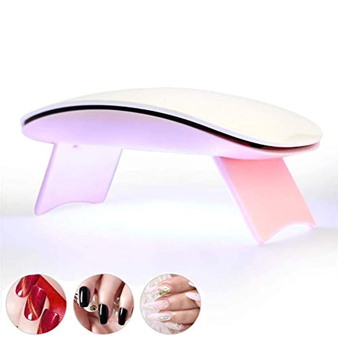 腸部屋を掃除する父方のネイル用ランプマニキュアネイルドライヤー用6WポータブルUV LED USB付きバッテリーマシンセラピーワニスランプジェルポリッシュ用、ピンク