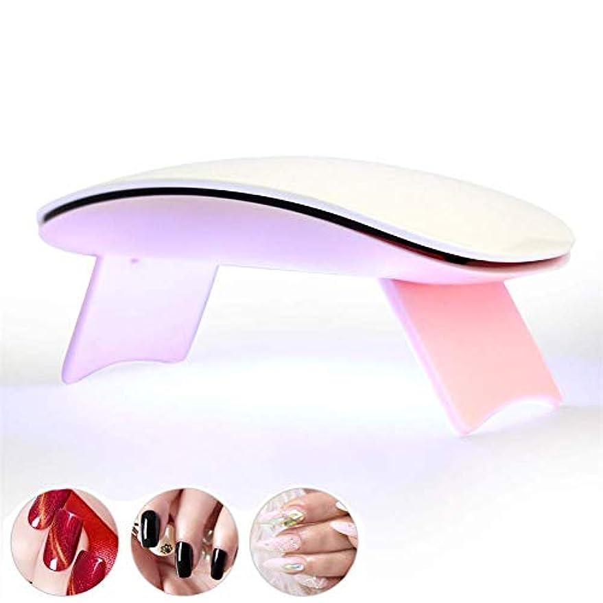 扱いやすい誘惑禁輸ネイル用ランプマニキュアネイルドライヤー用6WポータブルUV LED USB付きバッテリーマシンセラピーワニスランプジェルポリッシュ用、ピンク