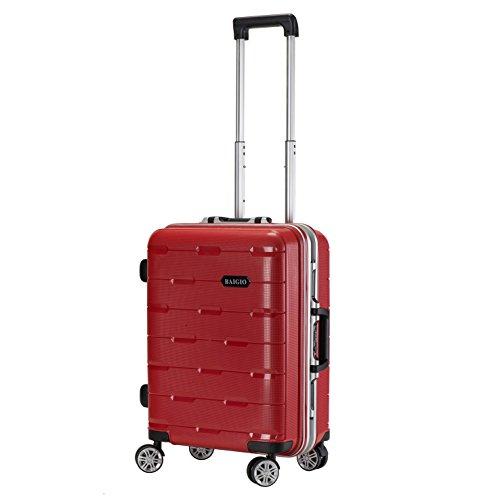 BAIGIO スーツケース 旅行カバン 旅行スーツケース キャリーバッグ キャリーケース TSAロック搭載 フレームタイプ 軽量 Mサイズ レッド