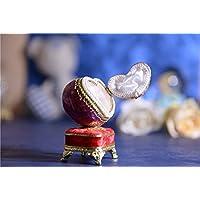 女の子のためのオルゴールイースターエッグ卵殻 オルゴールバレリーナダンス?バレエ 赤いハートジュエリーボックス