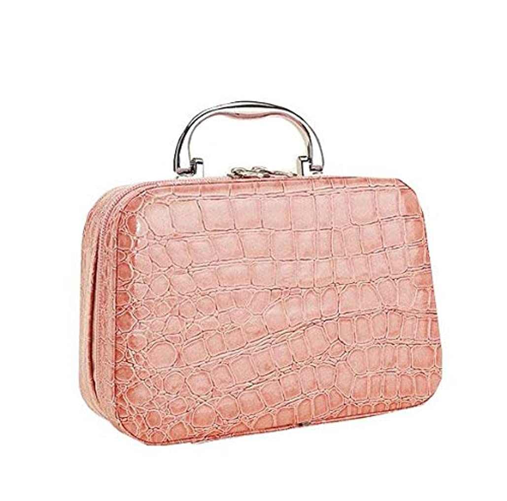 武器死すべきバッジ化粧箱、ピンクのワニ皮の化粧箱、携帯用携帯用旅行化粧品の箱、美の釘の宝石類の収納箱