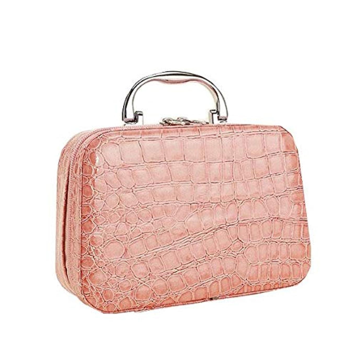 待って捕虜リンケージ化粧箱、ピンクのワニ皮の化粧箱、携帯用携帯用旅行化粧品の箱、美の釘の宝石類の収納箱