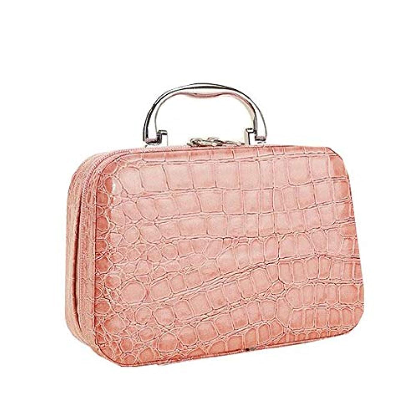 カフェテリア性的真鍮化粧箱、ピンクのワニ皮の化粧箱、携帯用携帯用旅行化粧品の箱、美の釘の宝石類の収納箱