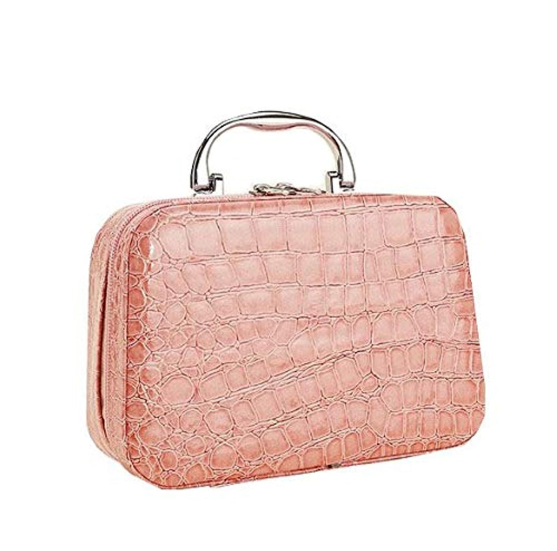 美容師マンハッタンアヒル化粧箱、ピンクのワニ皮の化粧箱、携帯用携帯用旅行化粧品の箱、美の釘の宝石類の収納箱