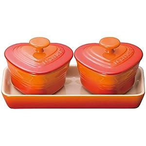 ルクルーゼ プチ ラムカン ダムール セット 耐熱 容器 オレンジ 910223-00-09