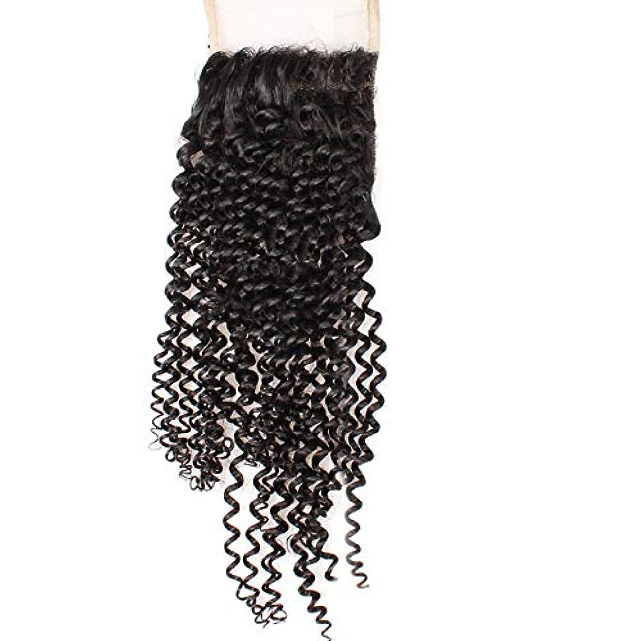 させるばかげている寸法HOHYLLYA 4×4フリーパートレース前頭閉鎖9Aブラジル髪変態カーリーレース閉鎖ロールプレイングかつら女性の自然なかつら (色 : 黒, サイズ : 14 inch)