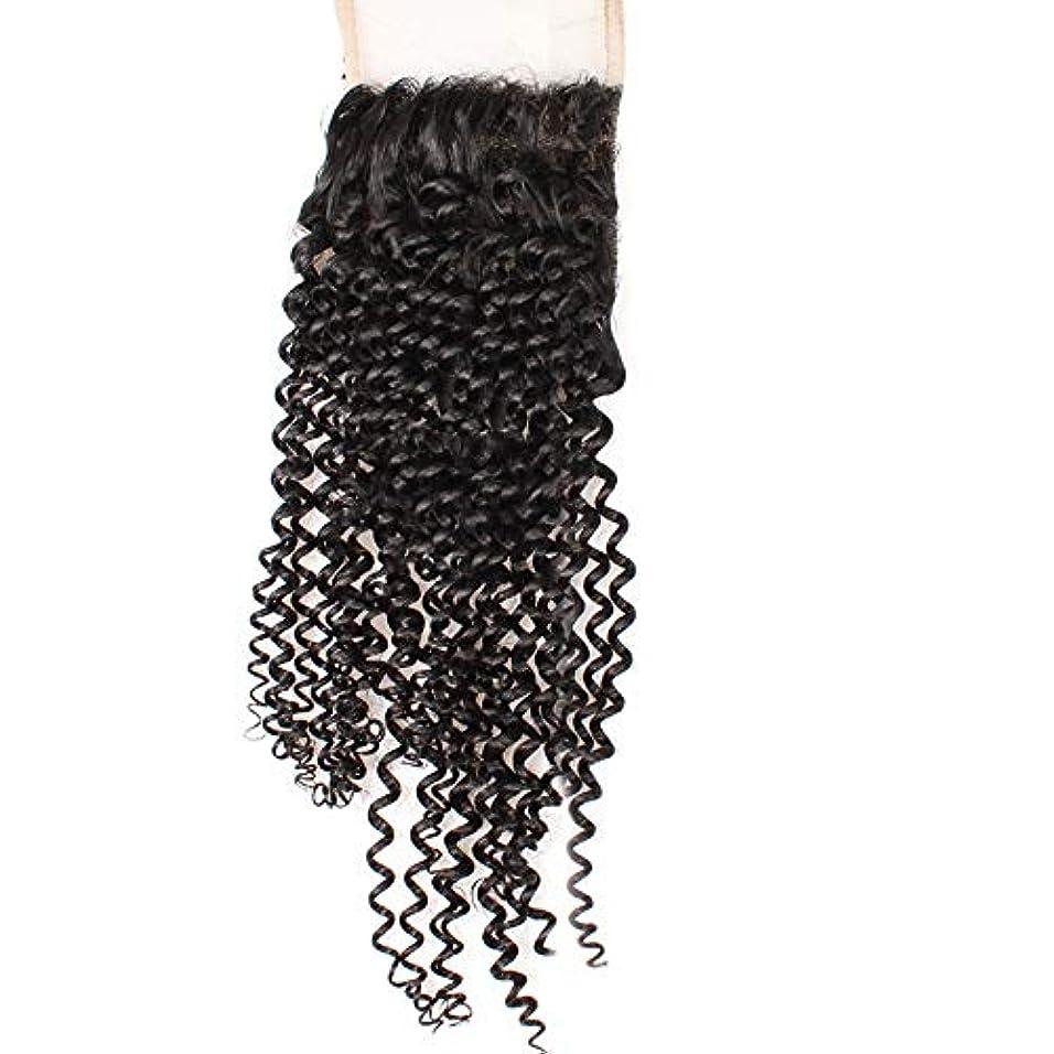 ミシン目発表告白HOHYLLYA 4×4フリーパートレース前頭閉鎖9Aブラジル髪変態カーリーレース閉鎖ロールプレイングかつら女性の自然なかつら (色 : 黒, サイズ : 14 inch)