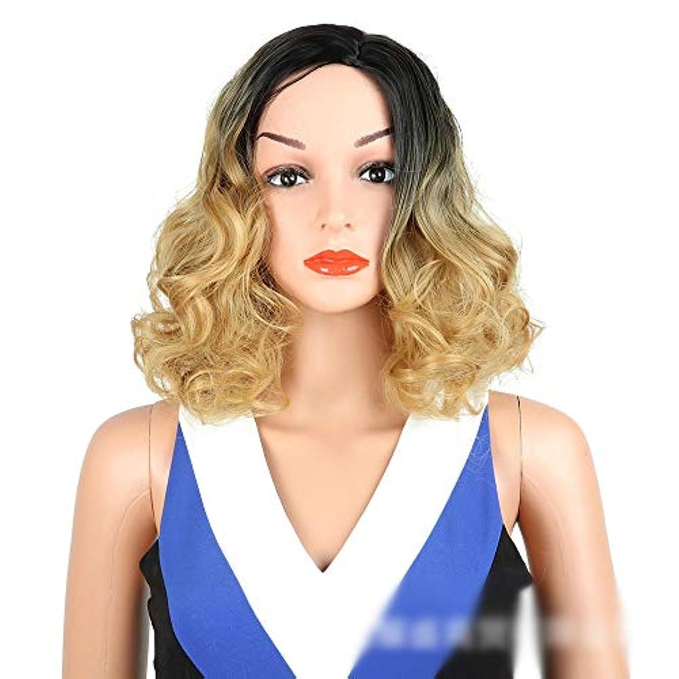 報酬ピザカロリーYOUQIU 自然なオンブルブロンドウィッグ黒根ざしロングカーリーマシンは、女性のかつらのための合成かつらを作りました (色 : Blonde)