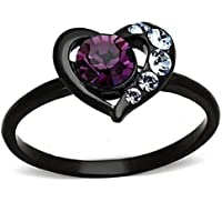 Jude Jewelers Black Purple Heart Shaped Wedding Engagement Children Birthday Ring