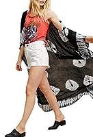 gawaga Women's Loose Fit Floral Printed Cardigans Bathing Suit Chiffon Long Kimono Cover ups Black S