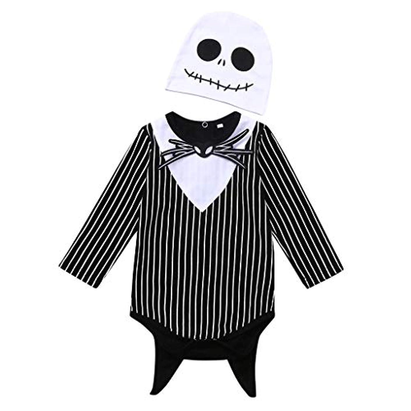 無効にするクラブなぞらえるMISFIY 幼児 ベビー服 子供 男の子 セット ロンパース 帽子 コットン ハロウィン 骷髅 かわいい 寝間着 部屋着 パジャマ