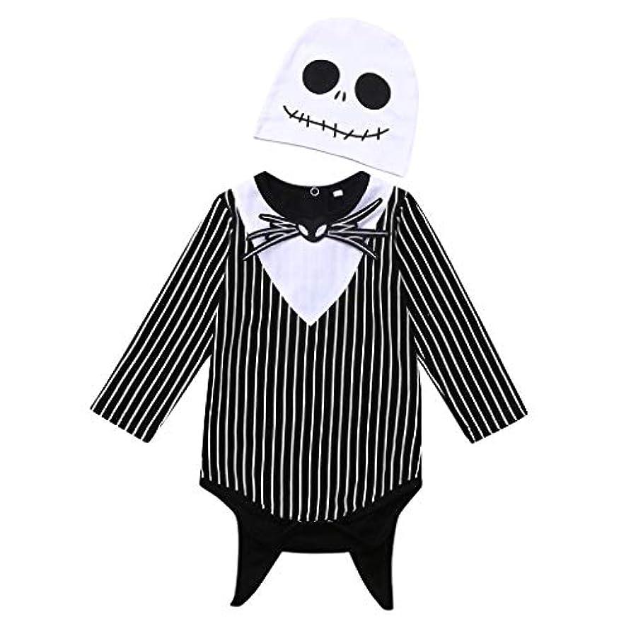 葡萄鮮やかな辞任するMISFIY 幼児 ベビー服 子供 男の子 セット ロンパース 帽子 コットン ハロウィン 骷髅 かわいい 寝間着 部屋着 パジャマ