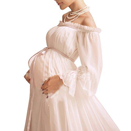 マタニティ 撮影用 ドレス ネックレス付き 妊娠中 道具 記念写真 長袖 白 美しい 素敵...