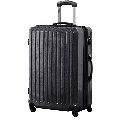 FIELDOOR スーツケース TSAロック搭載 軽量 アルミフレーム 鏡面ヘアライン仕上げ ・約77x53x31cm・5.0kg・101112リットル ブラック L