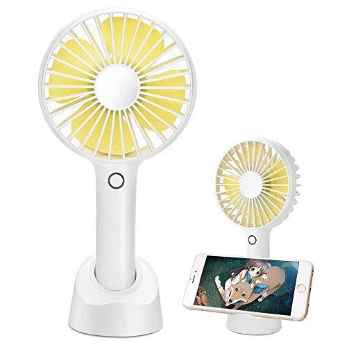 携帯扇風機 手持ちファン USB扇風機 ミニ扇風機 手持ち&卓上両用 4段階風量調節 静音 熱中症対策 スマホスタンド機能付き(2500mAh) (ホワイト)