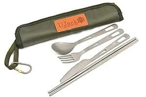 UJack(ユージャック) チタンカトラリーセット 1人用 4ピース 収納ケース付き ナイフ フォーク スプーン 箸