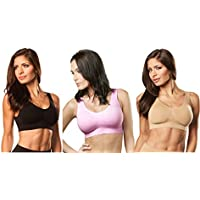 Genie Bra (3 Pack Womens Seamless, Wireless Bra, As Seen On TV, with Removable Pads for Extra Lift