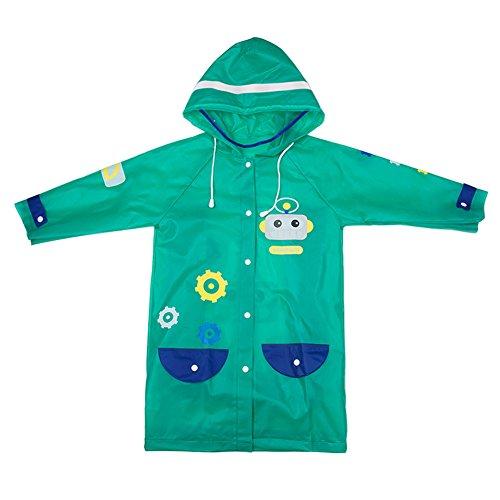 (よキーよ) Yokeeyo レインコート キッズ 子供 雨具 カッパ 透明バイザー付き ポンチョ EVA素材製 折り畳み可能 防水 防汚 無臭 高耐久性 女の子 男の子 反射ストリップ かわいい