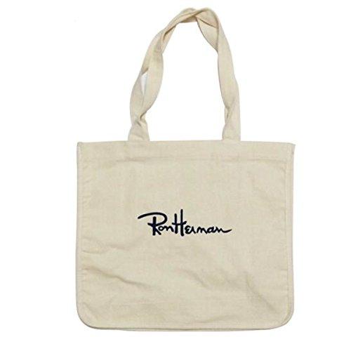 【n】Ron Herman (ロンハーマン) 刺繍ロゴ入り トートバッグ ロゴ Blue/canvas/ブルー/キャンバス トート アクセントの効いたブランドロゴでどんなスタイリングにも使用出来るデザイン ユニ バッグ (Canvas) [並行輸入品]