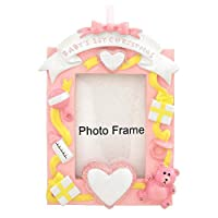 Baby's First Christmas Girl Picture Frame Ornament