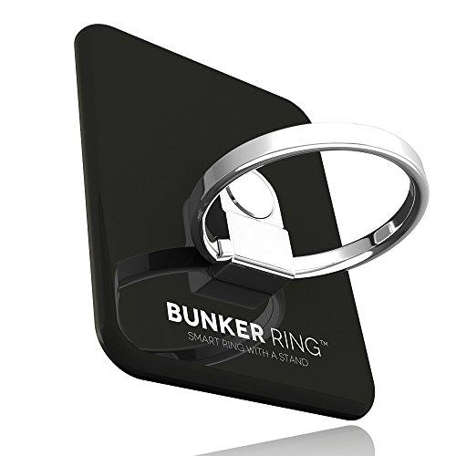 BUNKER RING 3 (全5色) バンカーリング iPhone/iPad/iPod/Galaxy/Xperia/スマートフォン・タブレットPCを指1本で保持・落下防止・スタンド機能(ジェットブラック)