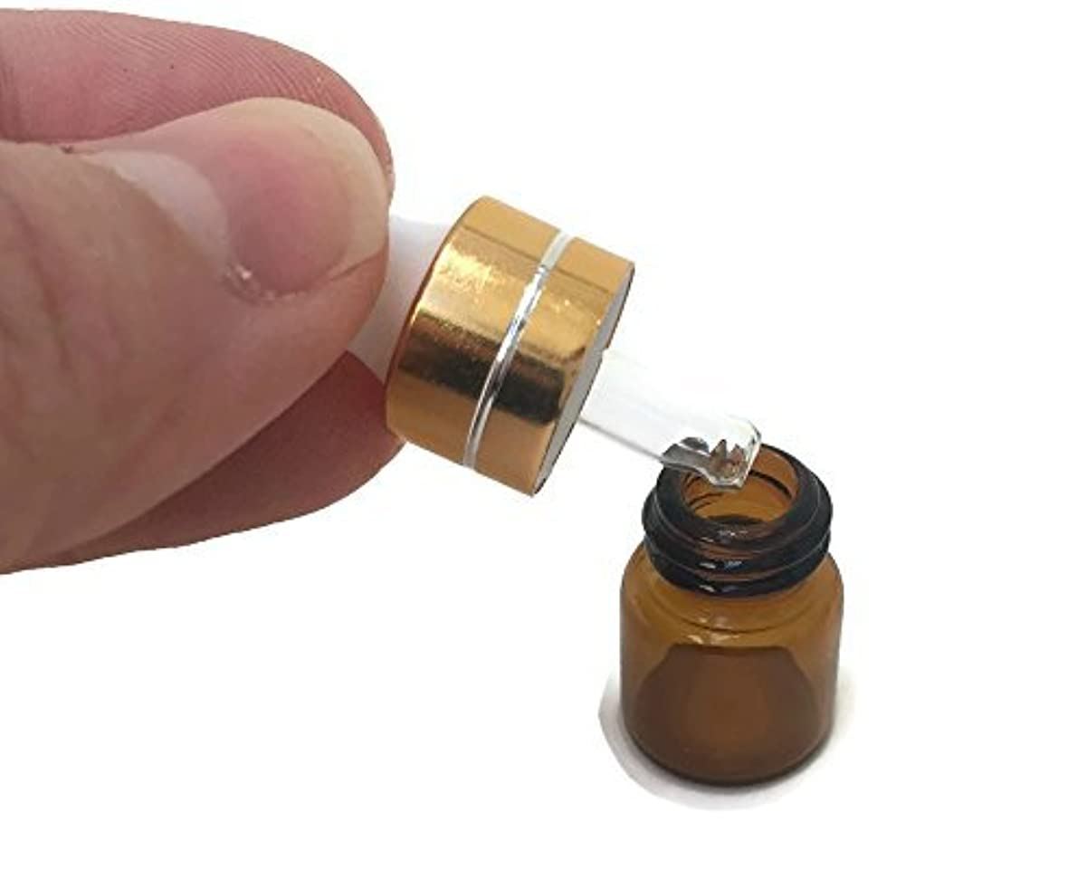 後退するアンビエント拒絶するMiniature 1/4 Dram 1mL Glass Dropper Bottles for Essential Oils from. Amber Glass to Protect Sensitive Oils. Gold...