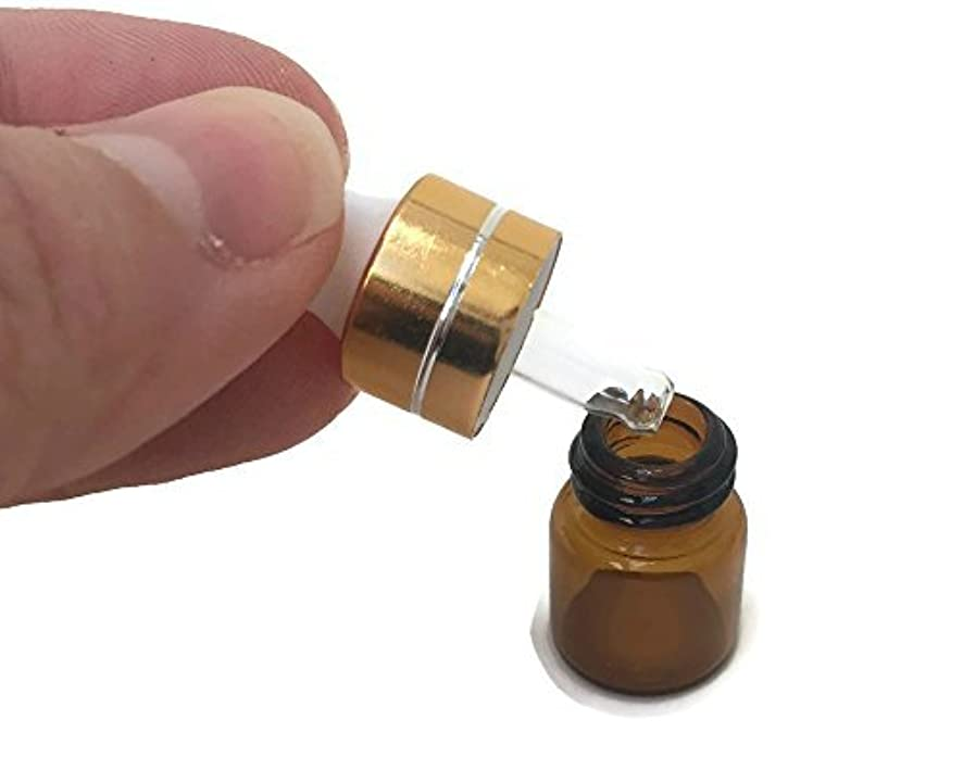 動詞ブレイズしなやかMiniature 1/4 Dram 1mL Glass Dropper Bottles for Essential Oils from. Amber Glass to Protect Sensitive Oils. Gold...