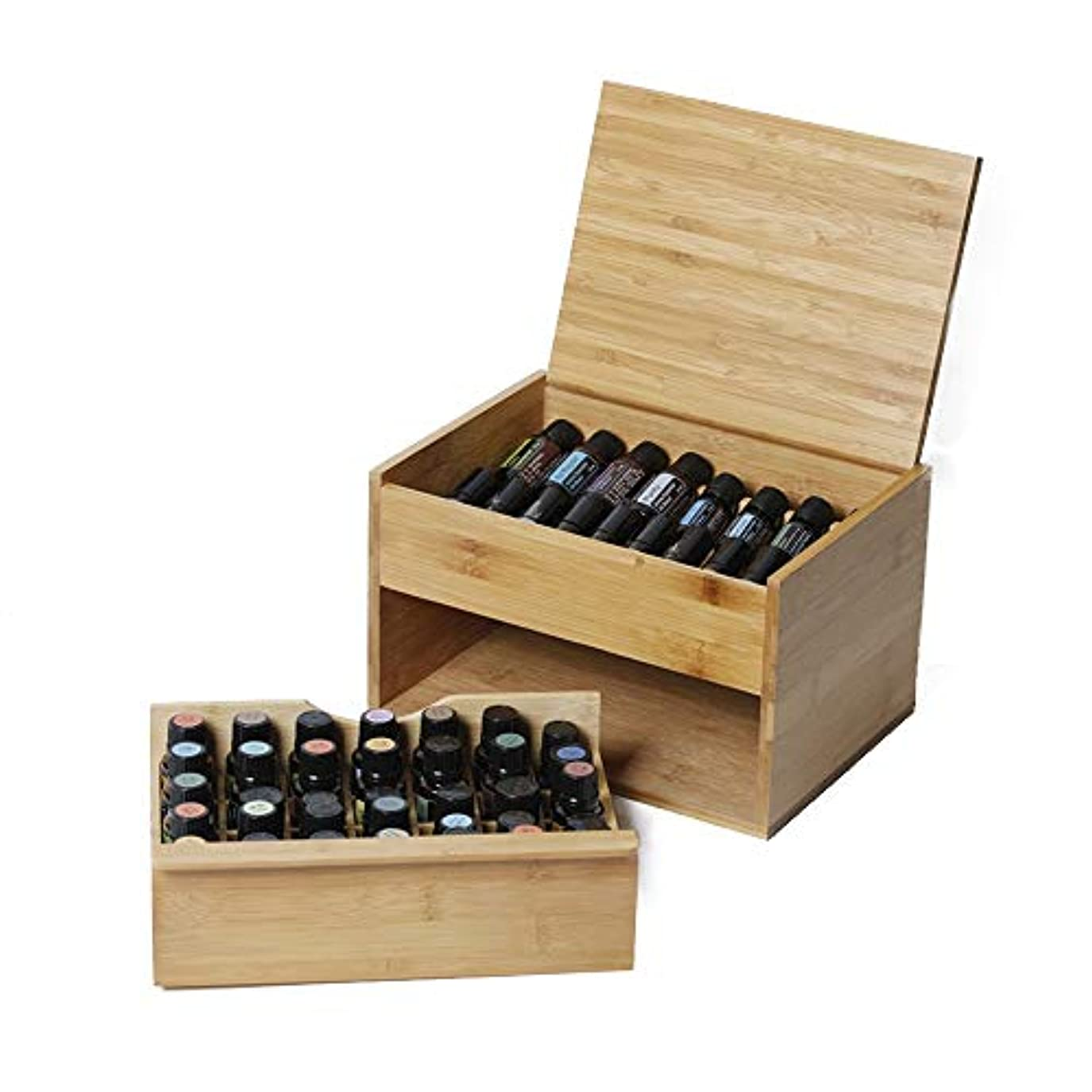 記念碑的なリム原因エッセンシャルオイルの保管 2ティアエッセンシャルオイルストレージボックス主催者は53の5?15ミリリットル油のボトルを保持します (色 : Natural, サイズ : 26.3X18.8X16CM)