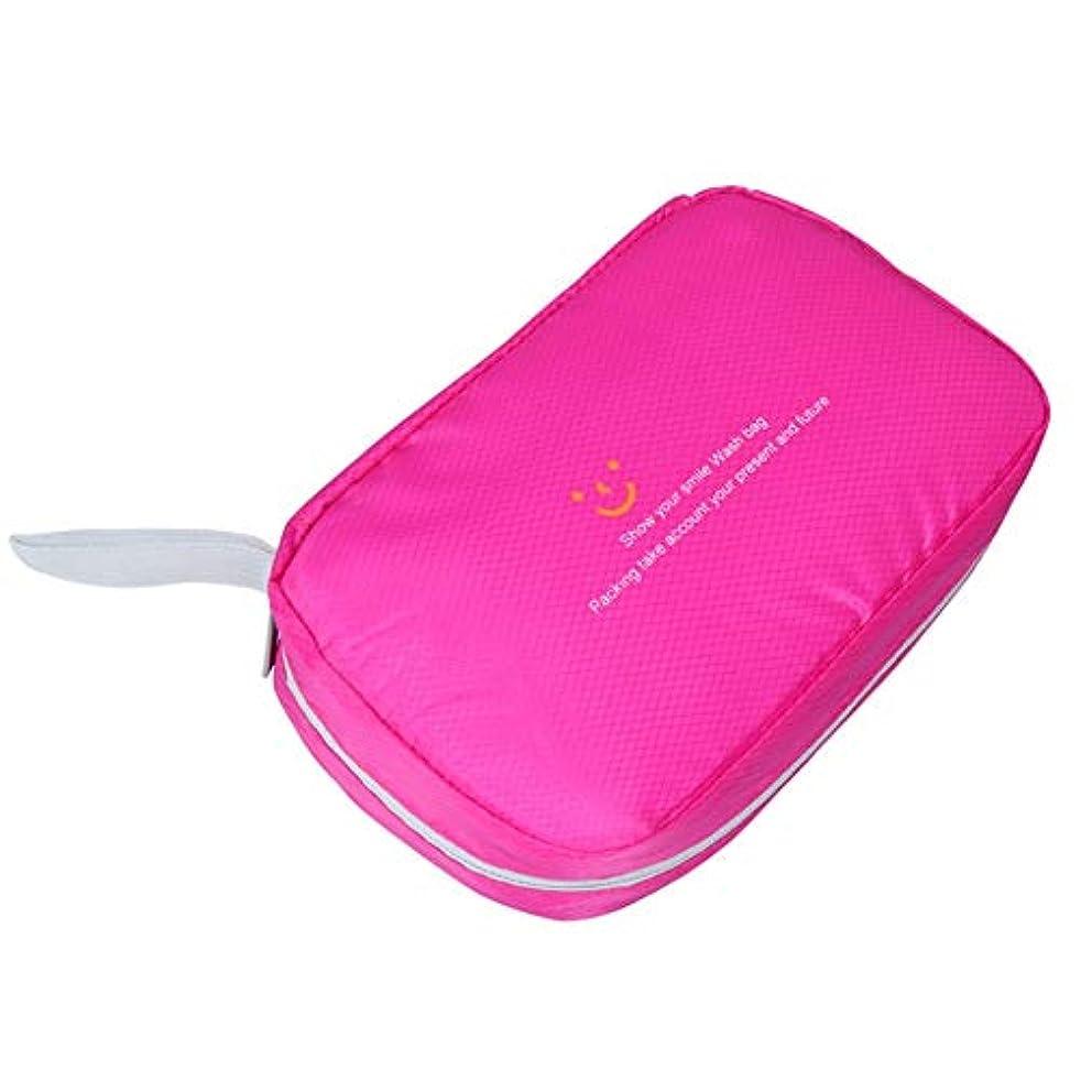 不一致フリース傾向特大スペース収納ビューティーボックス 美の構造のためそしてジッパーおよび折る皿が付いている女の子の女性旅行そして毎日の貯蔵のための高容量の携帯用化粧品袋 化粧品化粧台 (色 : ピンク)