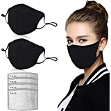 Dust Mask, LT Unisex Mouth Mask Dust Pollution Mask, 2 pcs Breathing Mask with 4 Extra Carbon N95 Filters for Running, Cycling, Woodworking Outdoor Activities (2Black Mask+4 Filter) (Cotton Mask)