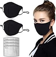 Dust Mask, Amazer Tec Activated Carbon Dustproof Mask, 2 pcs Cotton mask with 4 Extra Carbon Filters for Pollen Allergy...