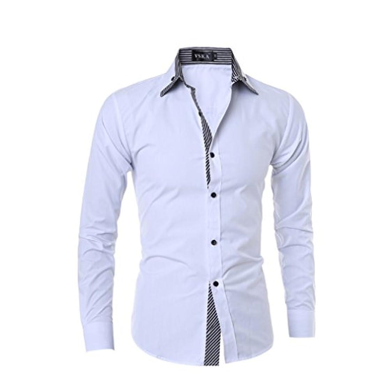 クロール口アラブHonghu メンズ シャツ 長袖 ダブルカラー ストライプ カジュアル ホワイト XL 1PC