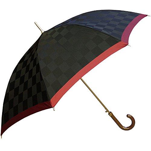 NOBEL(ノーベル) レディース 雨傘 長傘 日本製 ジャンプ ワンタッチ 甲州織り 先染め朱子格子織り 市松柄 おしゃれ スタイリッシュ (ブラック)