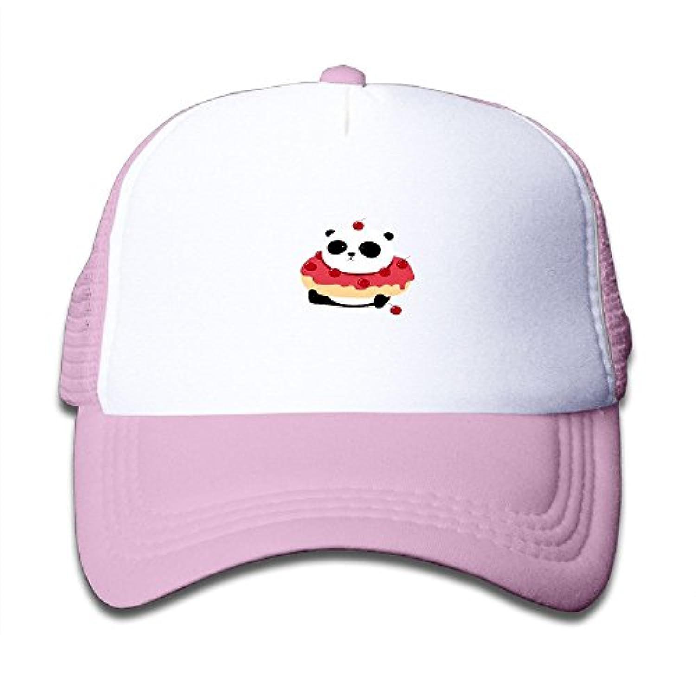 パンダのドーナツ 素敵 かわいい おもしろい ファッション 派手 メッシュキャップ 子ども ハット 耐久性 帽子 通学 スポーツ