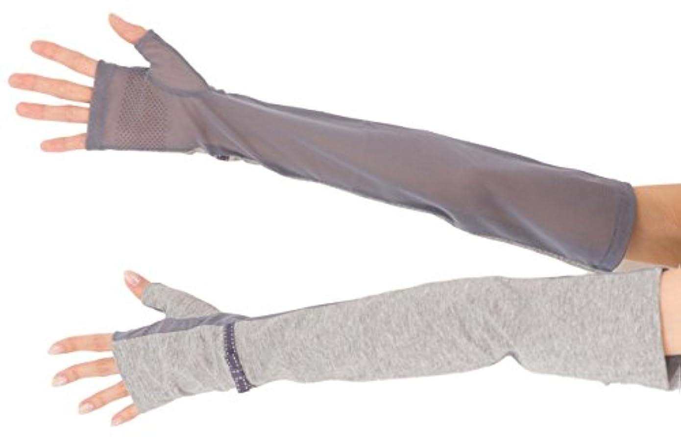 被るお酢問い合わせエル (ELLE) 接触冷感 スマホ対応 指なし ロング タイプ UV 手袋 メッシュ リボン 滑り止め ケース付 (グレー)