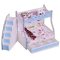 Toygogo 1/12ドールハウスミニチュア家具二段ベッドダブル二段ベッドルームアクセサリー#1 - #3
